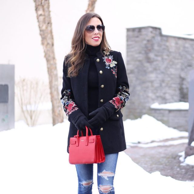 Pops of red today in a winter wonderland  peacoathellip